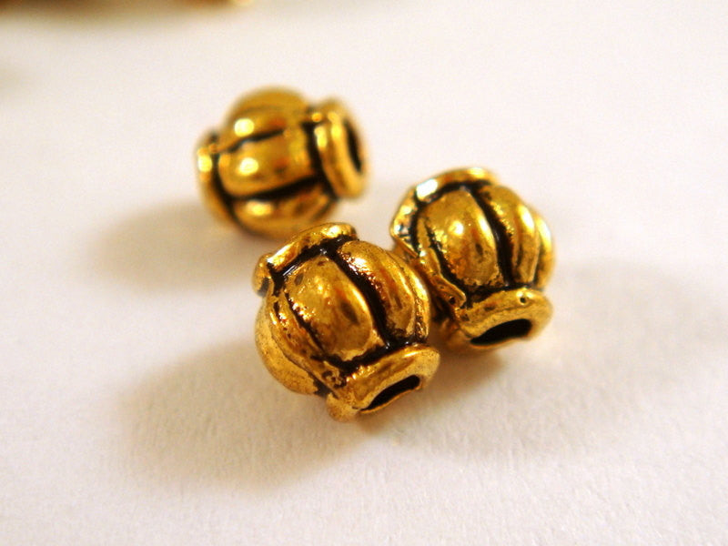 Antique Gold Beads, Ribbed Barrel Lantern Plated Metal Spacers 4mm - 50 pcs. - M7002-AG50