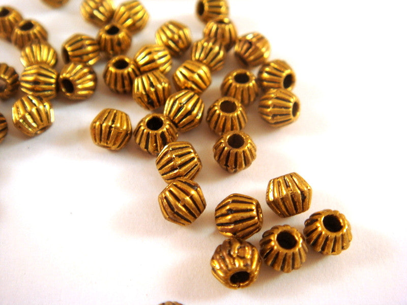 Antique Gold Beads, Ribbed Bicone Saucer Plated Metal Spacers LF/CF 4.5x4mm - 50 pcs. - M7061-AG50
