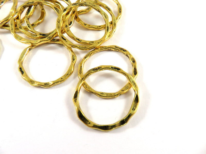Antique Gold Connectors, Round Hoops, Hammered Look Ring Links 22x1.5mm - 12 pcs. - F4185LK-AG12