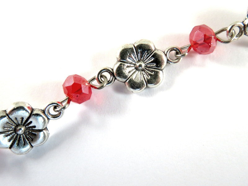 Red Beaded Chain, Antique Silver Plated with Glass Rondelles & Flower Links - 39 in. - STR9091CH-AS39