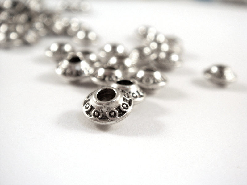 Antique Silver Bicone Saucer Beads
