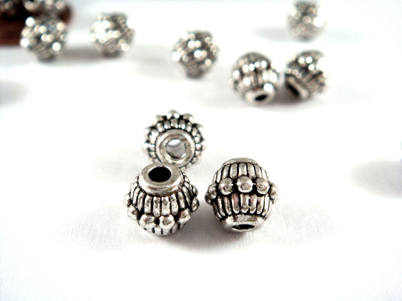 Antique Silver Beads, Large Hole Bicone Plated Metal Spacers LF/CF 7x6mm - 25 pcs. - M7023-AS25