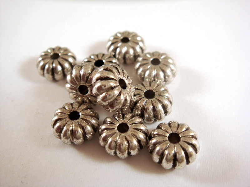 Antique Silver Beads, Ribbed Pumpkin Rondelle Donut Plated Metal Spacers LF/NF/CF 8x4mm - 10 pcs. - M7057-AS10
