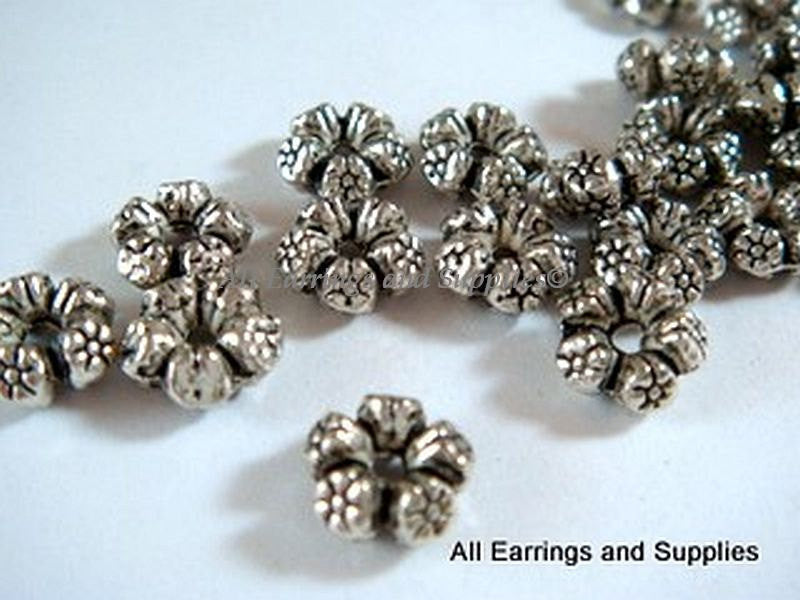 Antique Silver Beads, Round Flower Donut Plated Metal Spacers 7.5mm - 25 pcs. - 4989