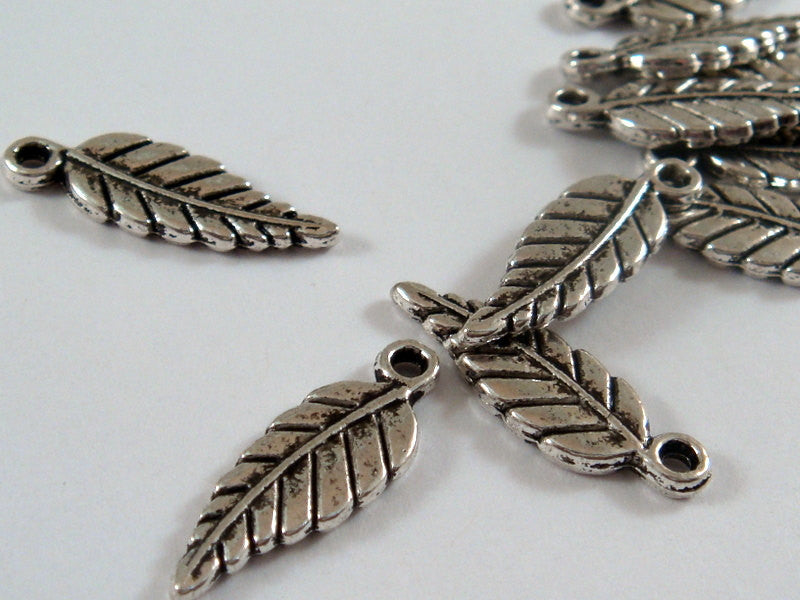 Antique Silver Charms, Small Leaf or Feather Drops 16x6mm - 10 pcs. - 6294-13