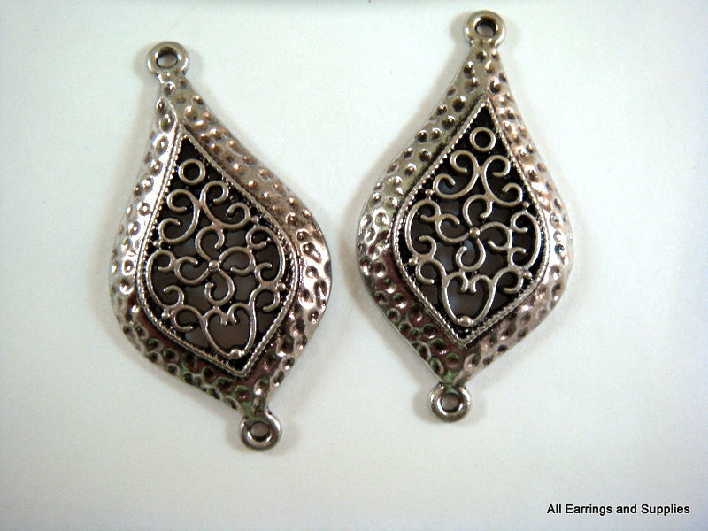 Antique Silver Connectors, Exotic Filigree Teardrop Pendants LF/NF/CF 47x24mm - 5 pcs. - F4112LK-AS5