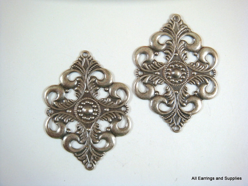 Antique Silver Connectors, Brass Filigree Pendant Drops 42x30mm - 2 pcs. - 6020-20