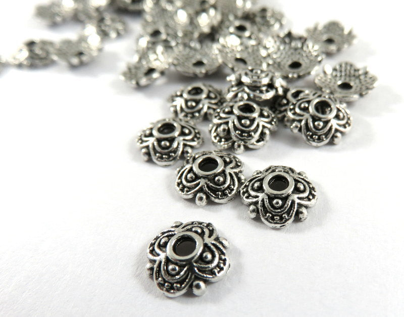 Antique Silver Flower Bead Caps