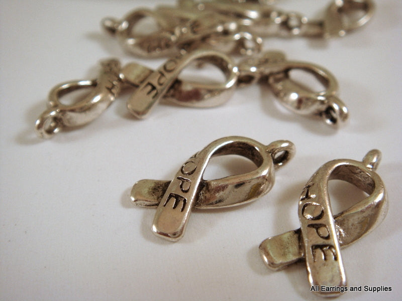 Antique Silver Charms, Cancer Awareness Hope Ribbons LF/NF/CF 18x7.5mm - 10 pcs. - DC3013-AS10