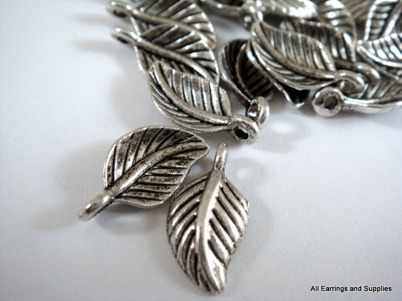 Antique Silver Charms, Small Detailed Leaf Drops LF 15x8mm - 25 pcs. - M7022-AS25