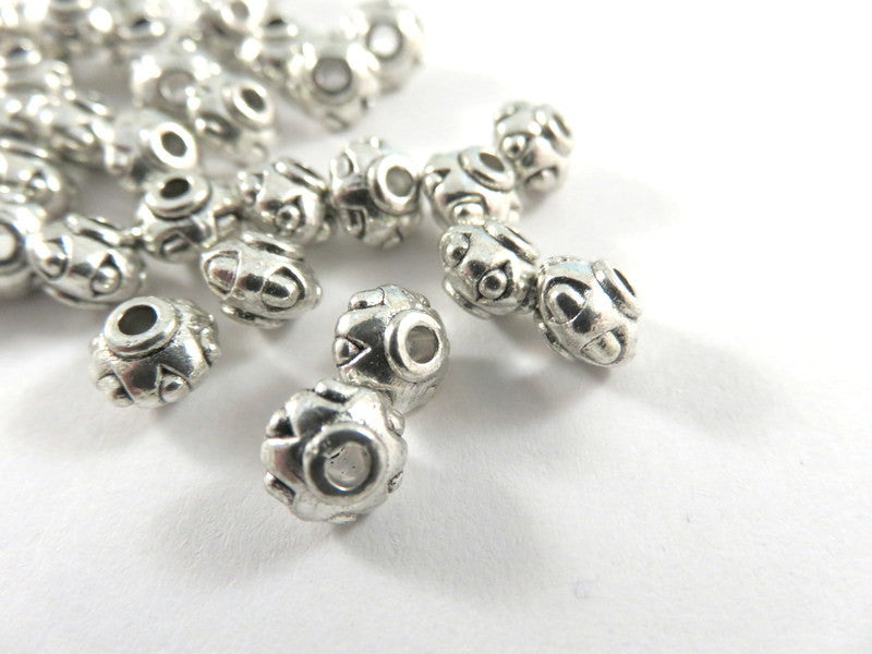 Antique Silver Beads, Large Hole Lantern Barrel Plated Metal Spacers LF 7x5mm - 25 pcs. - M7075-AS25