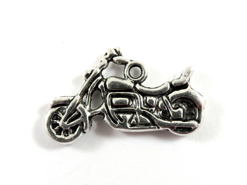 Antique Silver Charms, Double Sided Motorcycle Pendant Drops 24x14mm - 3 pcs. - DC3035-AS3