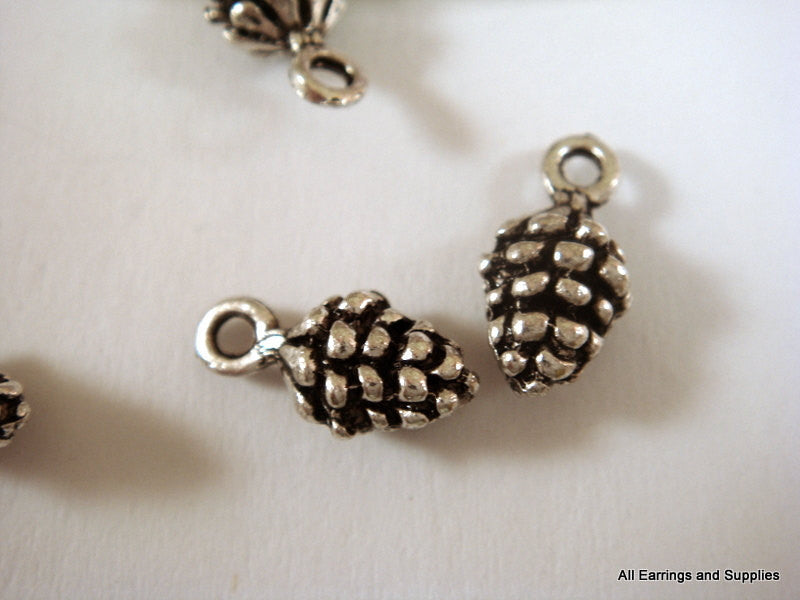 Antique Silver Pine Cone Charms