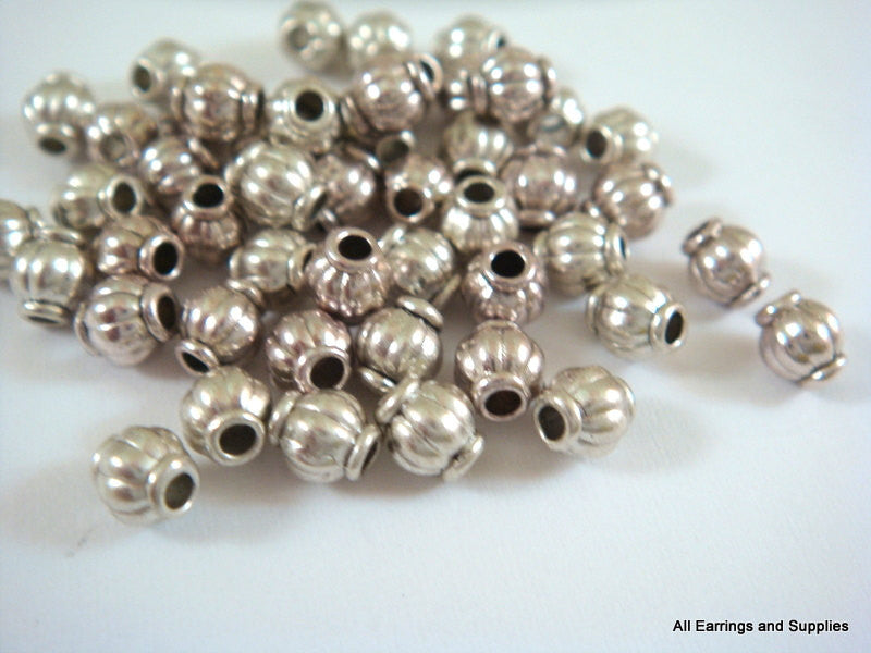 Antique Silver Beads, Ribbed Barrel Lantern Plated Metal Spacers 4mm - 50 pcs. - M7002-AS50