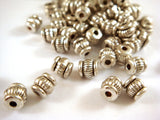 Antique Silver Ribbed Barrel Beads