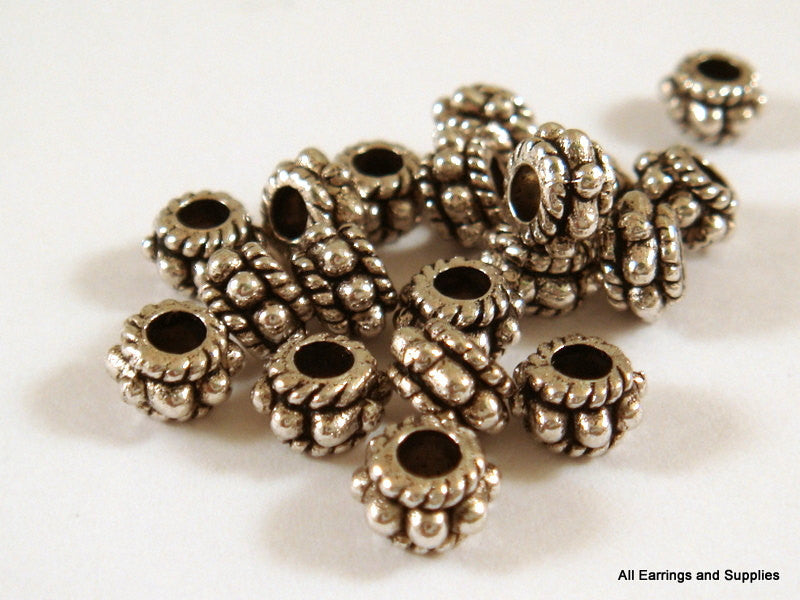 Antique Silver Beads, Large Hole Dotted Rondelle Plated Metal Spacers LF/NF/CF 5x3mm - 50 pcs. - M7042-AS50