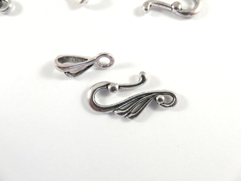 Hook Clasps, Open Design Antique Silver Plated Tibetan Style LF/NF/CF 25x12mm - 5 sets - F4190TC-AS5