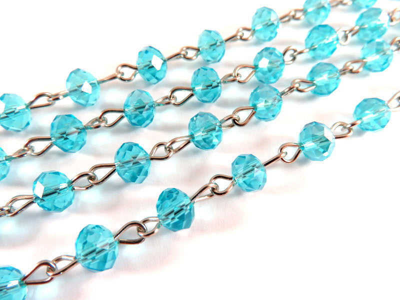 Aqua Rosary Chain, Nickel Plated with Transparent Faceted Lt. Blue Glass Rondelles 7x5mm - 39 in. - STR9088CH-AQ39