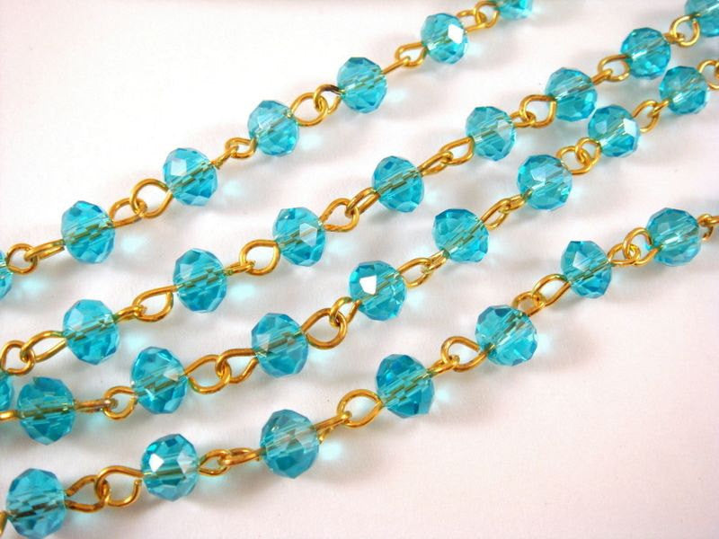 Aqua Rosary Chain, Gold Plated with Transparent Faceted Lt. Blue Glass Rondelles 7x5mm - 39 in. - STR9088CH-AQG39
