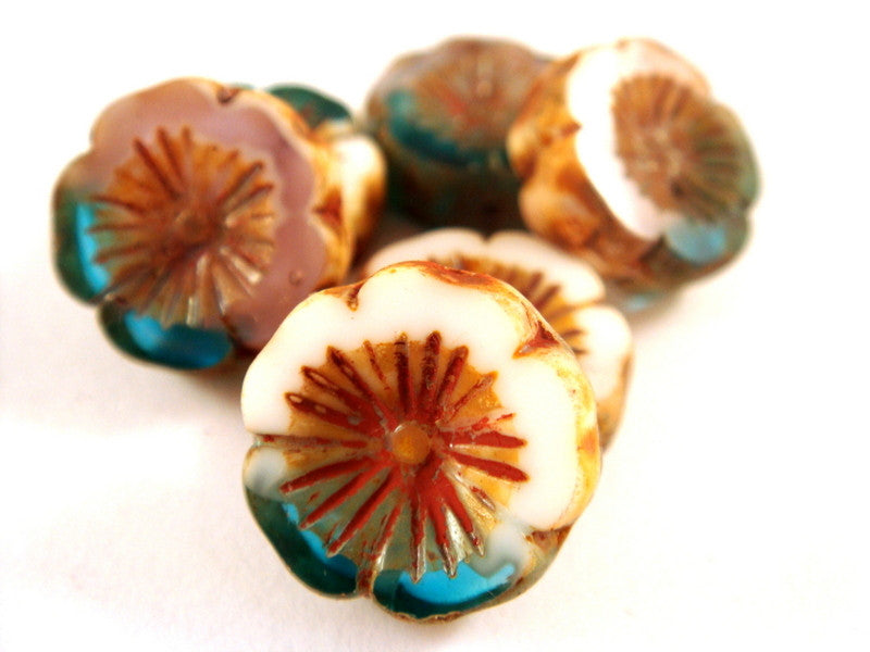 Capri White Pansy, Czech Glass Aqua Picasso Flower Beads 14mm - 6 pcs. - G6056-OWCP6