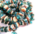 Aqua Ivory Czech Glass Beads