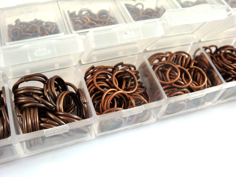 Antique Copper Jump Rings, Open/Unsoldered Boxed Assorted, NF, 4mm to 10mm Assortment - F4003JR-ASAC