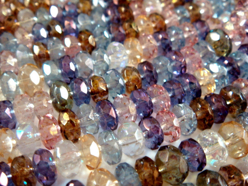 Luster Rondelles, Czech Glass Transparent Bead Mix 7x5mm - 25 pcs. - G6036-MIX25