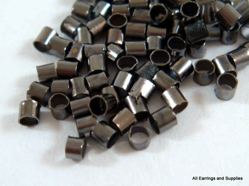 Black Crimp Beads, Gunmetal Plated Brass 1.5x1mm - 400 pcs. - F4021CB-B400