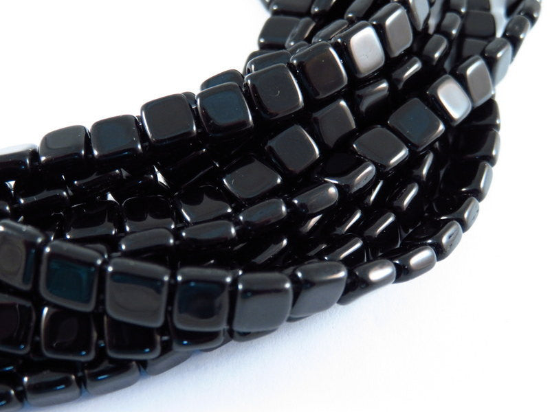 Jet Black Czechmates, Opaque Two Hole Czech Glass Square Tile Beads 6mm - 25 pcs. - G6081-BK25