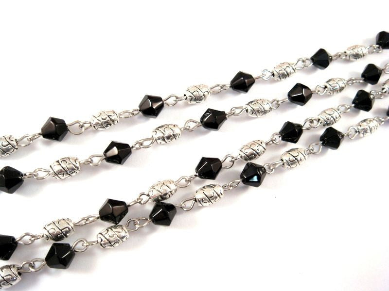Black Beaded Chain, Nickel Plated with Glass Bicones & Etched Oval Spacers 7x4mm - 39 in. - STR9087-BK39
