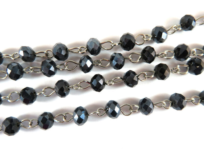 Black Rosary Chain, Nickel Plated with Transparent Faceted Glass Rondelles 7x5mm - 39 in. - STR9088CH-BK39