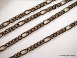 Gunmetal Plated Chain, Black Mother-Son Figaro Style, Unsoldered, 6x3mm/3.5x3mm - 25 feet - STR9038CH-B25