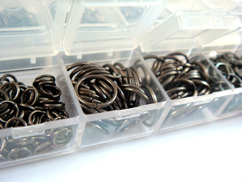Gunmetal Jump Rings, Black Open/Unsoldered Boxed Assorted, 4mm to 10mm Assortment- F4003JR-ASB