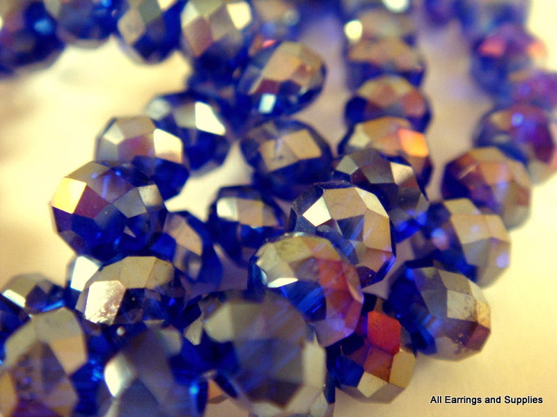 Blue AB Faceted Rondelles