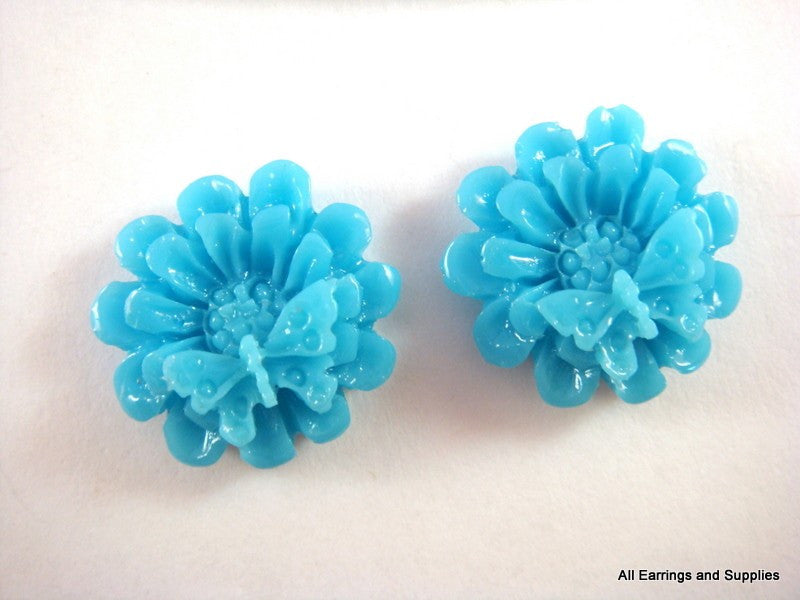 BOGO Blue Cabochons, Flowers & Butterflies Acrylic Resin 18mm - 6 pcs. - CA2015-B6 - Buy 1, get 1