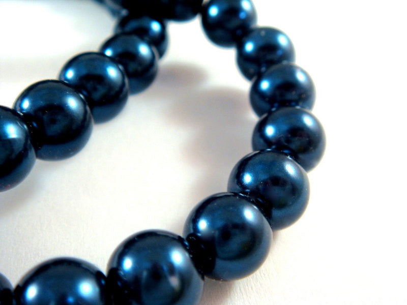Sapphire Blue Pearls, Smooth Round Glass Beads 8mm - 50 pcs. - 5131
