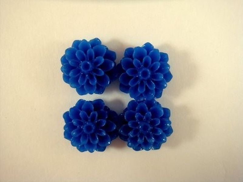 BOGO Blue Flower Cabochons, Royal Acrylic Resin Dahlias 15mm - 10 pcs. - CA2016-B10 - Buy 1, get 1