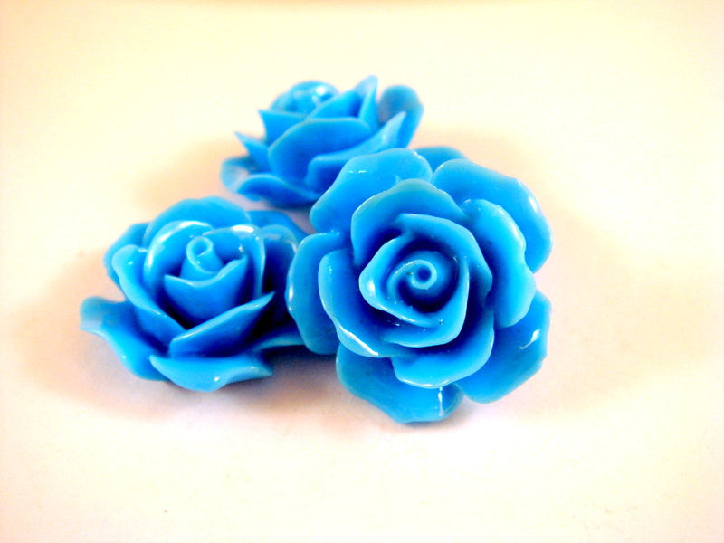 BOGO Blue Flower Cabochons, Cyan Acrylic Resin Roses 17mm - 4 pcs. - CA2029-LB4 - Buy 1, get 1