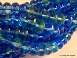 Blue Green Faceted Transparent Rondelles