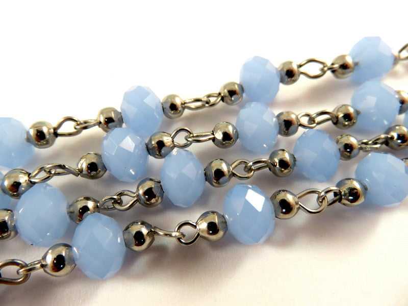 Blue Rosary Chain, Platinum Finish with Translucent Faceted Cornflower Glass Rondelles 8x5mm - 39 in. - STR9097CH-PL39