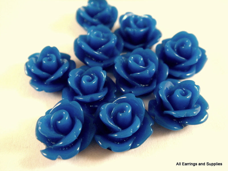 BOGO Blue Flower Cabochons, Small Acrylic Resin Roses 10mm - 10 pcs. - CA2006-B10 - Buy 1, get 1