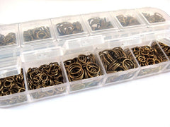 Boxed Assorted Antique Bronze 4 to 10mm Jump Rings