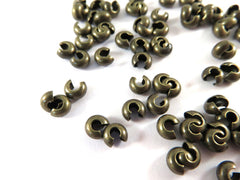 Antique Bronze Crimp Bead Covers, Plated Brass NF 4mm - 50 pcs. - 5775