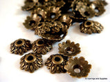 Bronze Flower Bead Caps