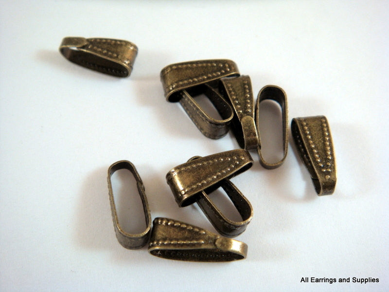 Snap On Bails, Small Antique Bronze Finish 10x4mm - 10 pcs. - F4147SB-AB10