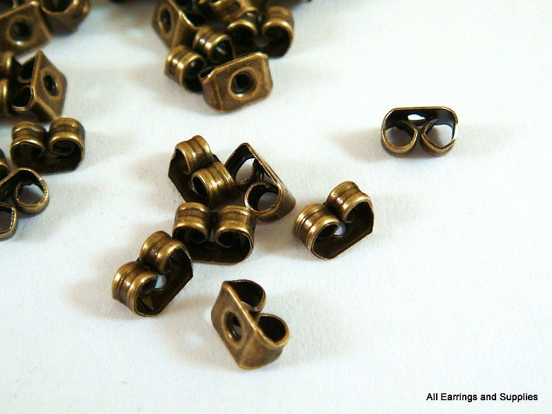 Antique Bronze Earring Backs, Post Clutches, Butterfly Earnuts 5.5mm - 50 pcs. - F4016EN-AB50