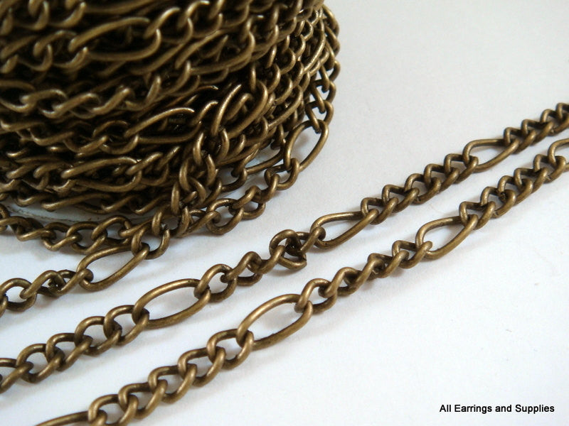 Antique Bronze Chain, Mother-Son Figaro Style, Unsoldered, 8x4mm/4x3mm - 25 feet - STR9008CH-AB25