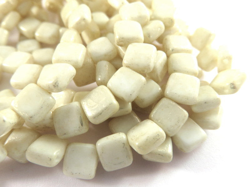 Champagne Czechmates, Ivory Two Hole Czech Glass Mercury Tile Beads 6mm - 25 pcs. - G6081-IVM25