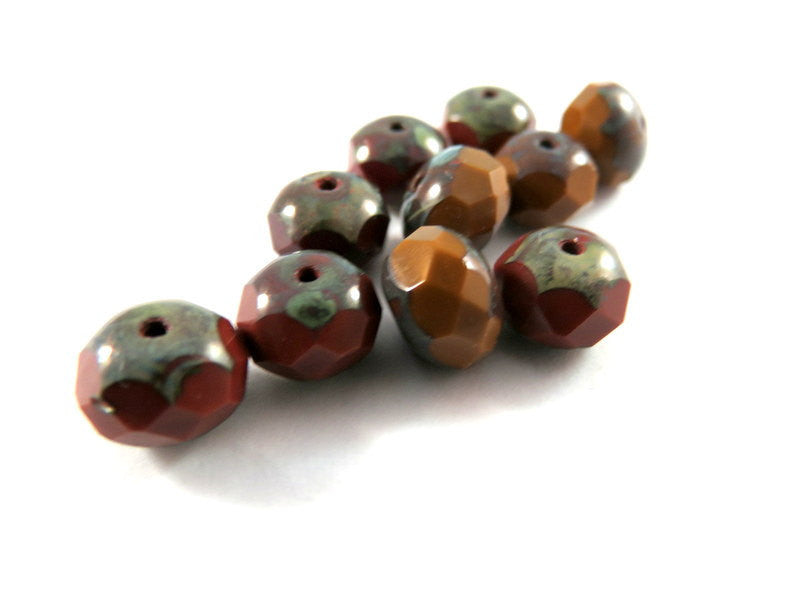 Chestnut Brown Czech Glass Picasso Beads