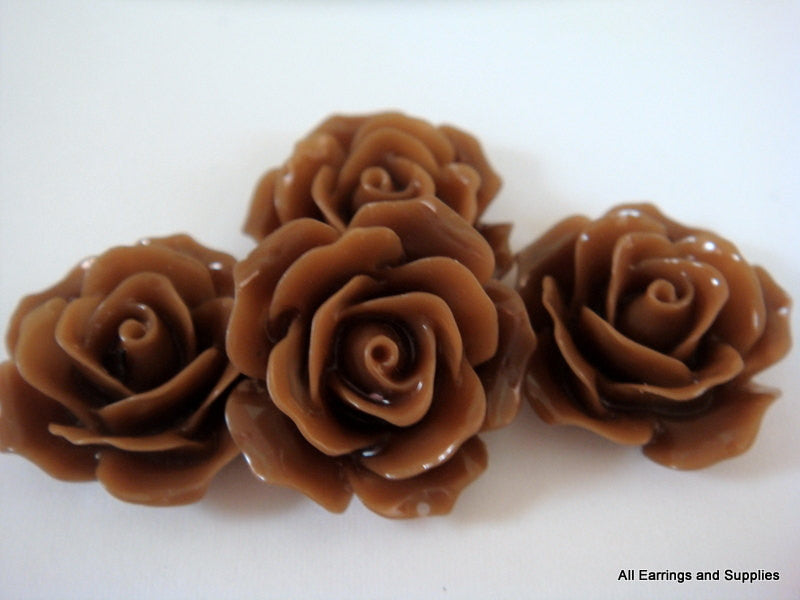 BOGO Chocolate Rose Cabochons, Cocoa Brown Acrylic Resin Flowers 18mm - 4 pcs. - CA2004-BR4 - Buy 1, get 1